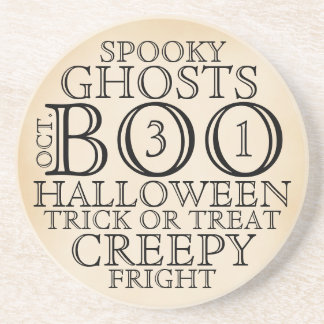 Vintage Halloween Typography Coaster