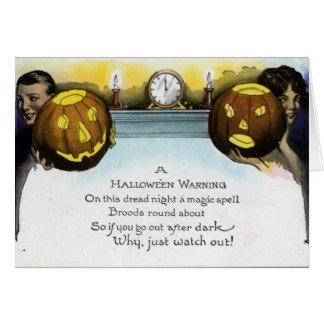 Vintage Halloween Warning Greeting/Note Card