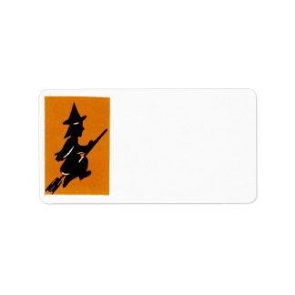 Vintage Halloween Witch Address Label