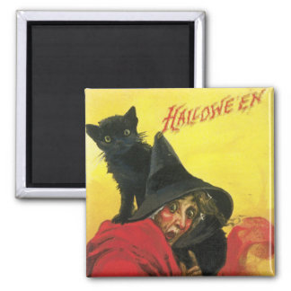 Vintage Halloween Witch and Cat Square Magnet