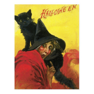 Vintage Halloween Witch and Cat Postcard