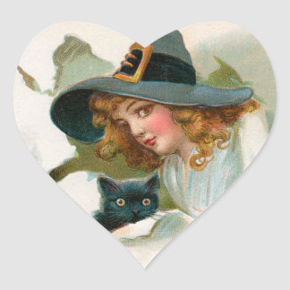 Vintage Halloween Witch and Kitty Stickers
