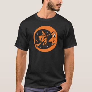 Vintage Halloween Witch and Moon Design T-Shirt