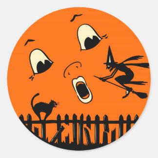 Vintage Halloween Witch and Moon Round Sticker