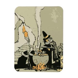 Vintage Halloween Witch, Cauldron Magic Black Cats Rectangular Magnets