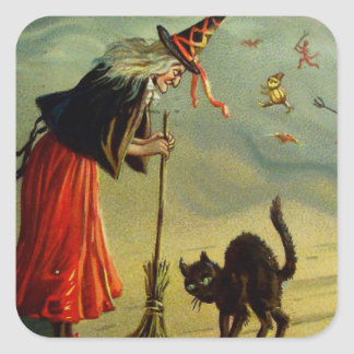 Vintage Halloween Witch Disciplining Black Cat Square Sticker