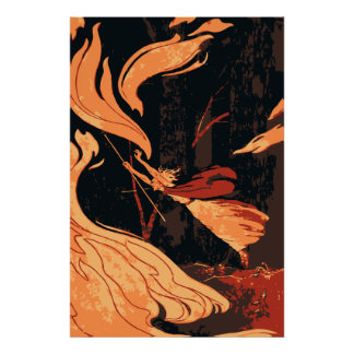 Vintage Halloween Witch, Fire and Flames in Forest Poster