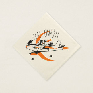 Vintage Halloween Witch Flying A Plane Paper Napkin