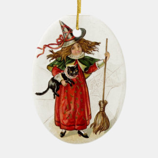 Vintage Halloween Witch Girl With Black Cat Ceramic Oval Decoration