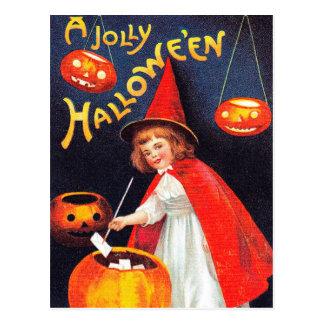 Vintage Halloween witch Holiday pumpkin postcard