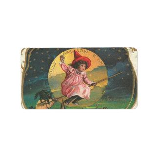 Vintage Halloween Witch Image on Label Address Label