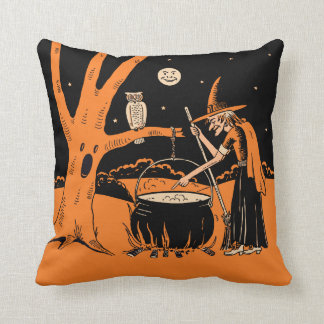 Vintage Halloween Witch in a Haunted Forest Throw Pillow