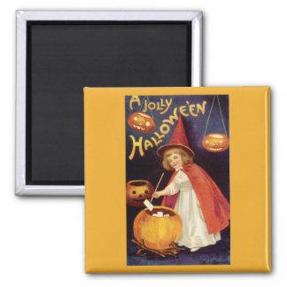 Vintage Halloween, Witch Jack o Lanterns Pumpkins Fridge Magnets