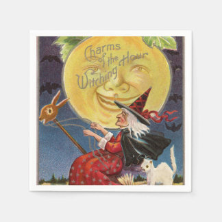Vintage Halloween witch moon party napkins Paper Napkins