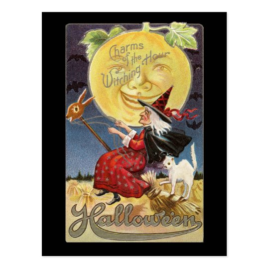 Vintage Halloween Witch Moon Postcard