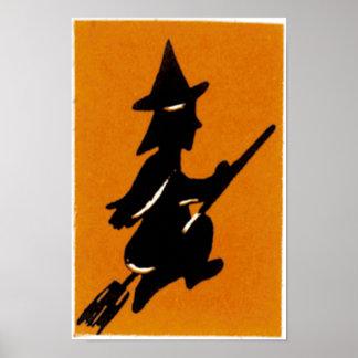 Vintage Halloween Witch Print