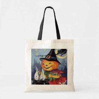 Vintage Halloween witch pumpkin cat trick treat Tote Bag
