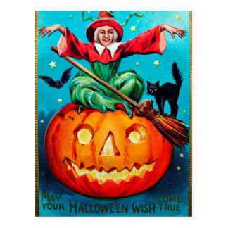 Vintage Halloween witch pumpkin Holiday postcard