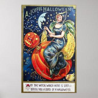 Vintage Halloween witch pumpkin party decor poster