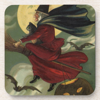 Vintage Halloween Witch Riding a Broom and Moon Beverage Coasters