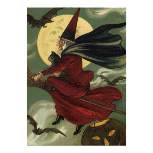 Vintage Halloween Witch Riding a Broom and Moon Personalized Invite