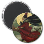 Vintage Halloween Witch Riding a Broom and Moon Refrigerator Magnet