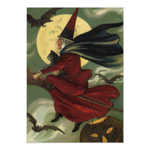 Vintage Halloween Witch Riding a Broom with Cat 13 Cm X 18 Cm Invitation Card