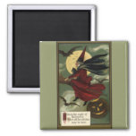 Vintage Halloween Witch Riding a Broom with Cat Square Magnet