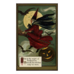 Vintage Halloween Witch Riding a Broom with Cat Poster