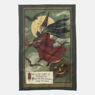 Vintage Halloween Witch Riding a Broom with Cat Towels