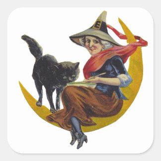 Vintage Halloween Witch Square Sticker