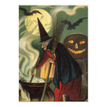 Vintage Halloween Witch Stirring Magic Cauldron 5x7 Paper Invitation Card