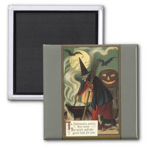 Vintage Halloween Witch Stirring Magic Cauldron Square Magnet
