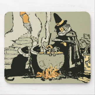 Vintage Halloween, Witch with Cauldron and Cats Mouse Pad