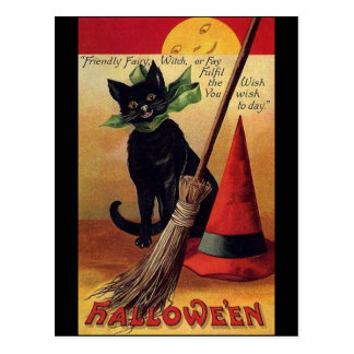 Vintage Halloween with a Black Cat and Witch's Hat Postcard