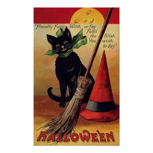 Vintage Halloween with a Black Cat and Witch's Hat Poster