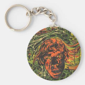 Vintage Halloween Zombies, Grafitti Street Art Basic Round Button Key Ring