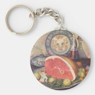 Vintage Ham Dinner with Green Beans and Potatoes Key Ring
