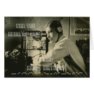 VINTAGE HAM RADIO HAPPY BIRTHDAY MORSE CODE PHOTO CARD