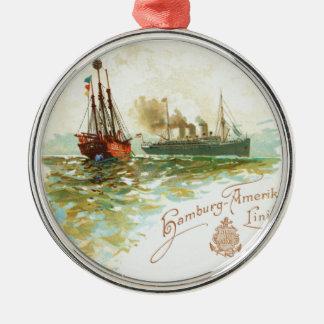 Vintage Hamburg-Amerika Line Round Ornament