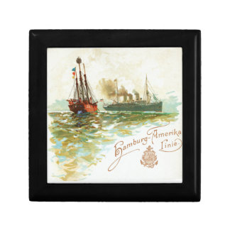 Vintage Hamburg-Amerika Steamship Jewelry Box