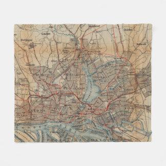 Vintage Hamburg Railway Map (1910) Fleece Blanket