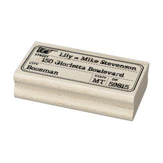 Vintage Hand Address Label Rubber Stamp