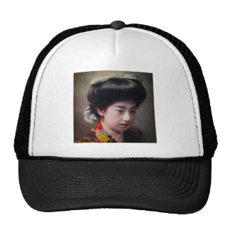 Vintage Hand Colored Japanese Geisha Old Japan Cap