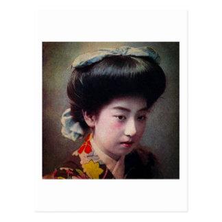 Vintage Hand Colored Japanese Geisha Old Japan Postcard