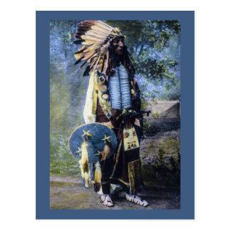 Vintage Hand Colored Lakota Sioux Magic Lantern Postcard