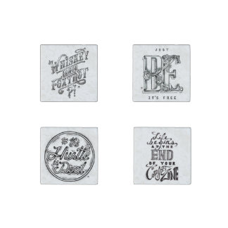 Vintage Hand Drawn Black and White quotes Stone Magnet