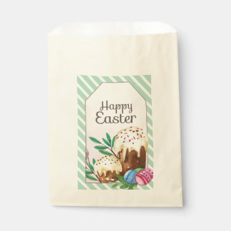 Vintage Hand drawn Easter Cakes on white stripes Favour Bag