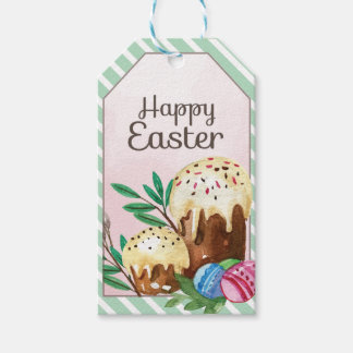 Vintage Hand drawn Easter Cakes on white stripes Gift Tags
