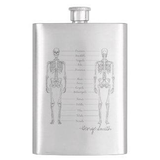 Vintage Hand Drawn Human Skeleton. Add your Name. Hip Flask